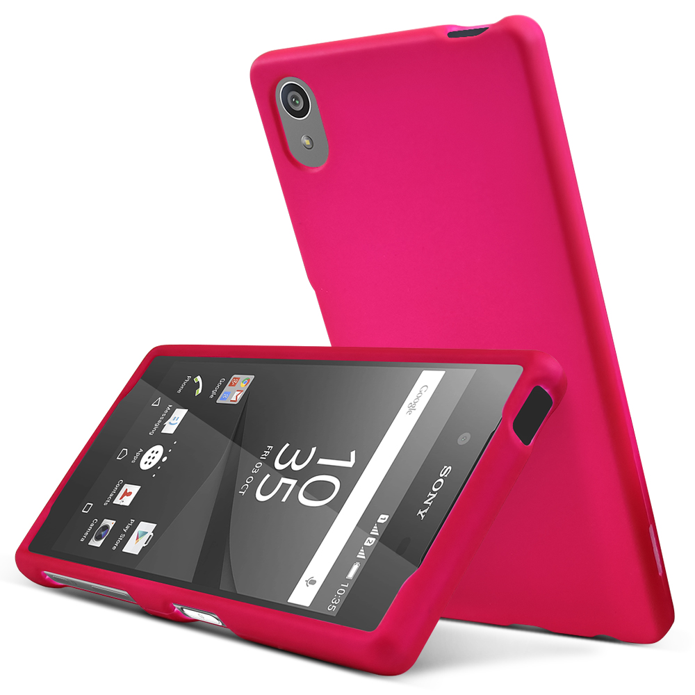 Sony Xperia Z5 Case,  [Hot Pink]  Slim & Protective Rubberized Matte Finish Snap-on Hard Polycarbonate Plastic Case Cover
