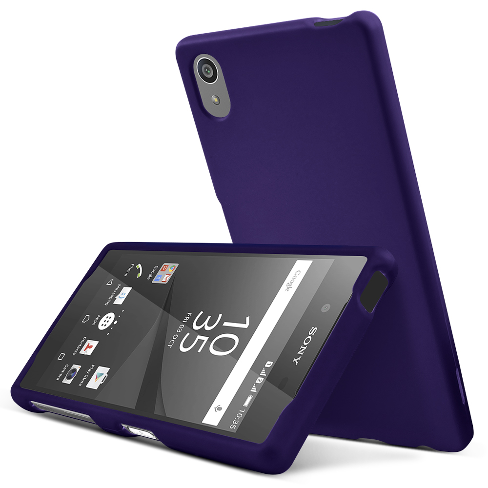 Sony Xperia Z5 Case,  [Purple]  Slim & Protective Rubberized Matte Finish Snap-on Hard Polycarbonate Plastic Case Cover