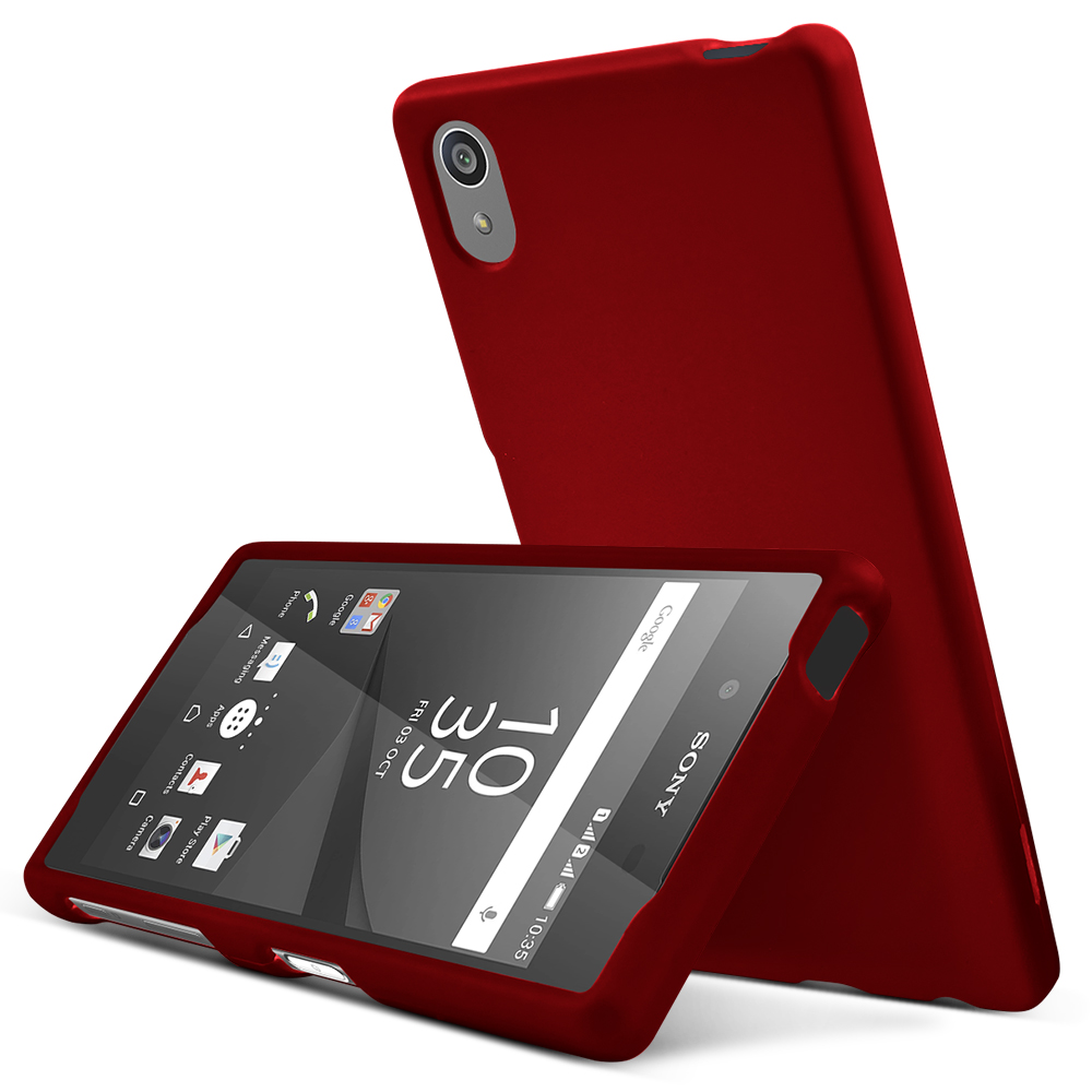 Sony Xperia Z5 Case,  [Red]  Slim & Protective Rubberized Matte Finish Snap-on Hard Polycarbonate Plastic Case Cover