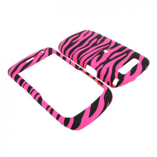 Blackberry Curve 8900 Rubberized Hard Case - Hot Pink Zebra