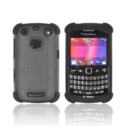 Blackberry Curve 9360/ Apollo Perforated Hybrid Hard Cover Over Silicone Case - Black