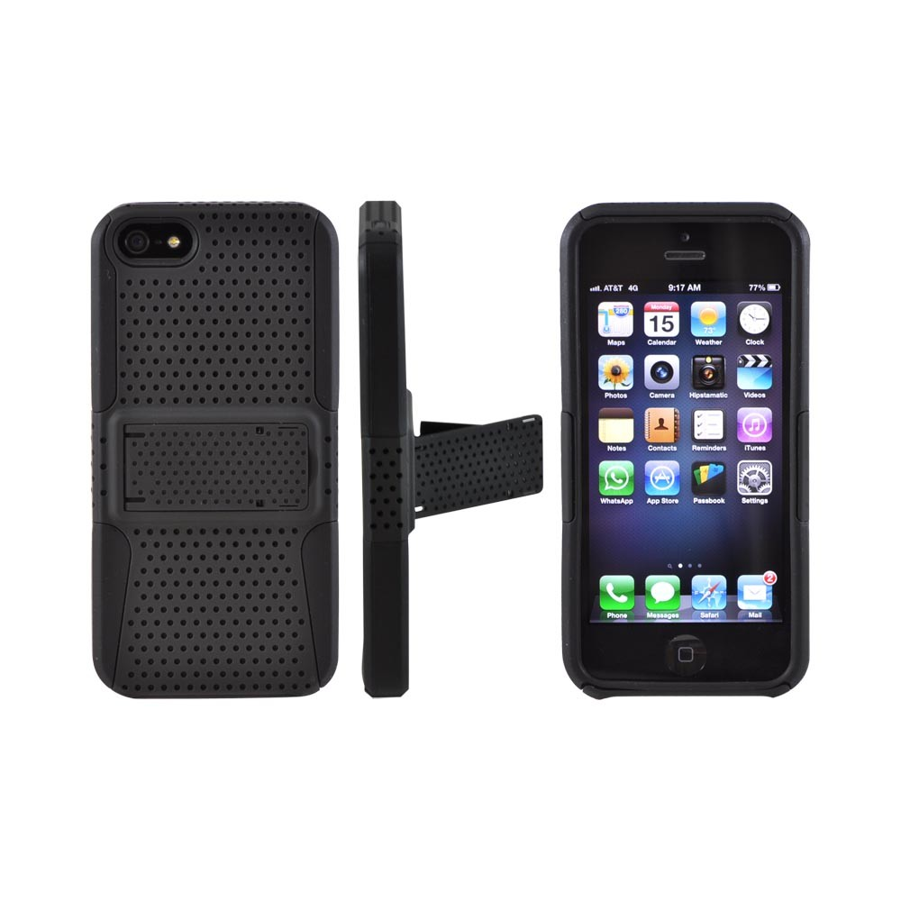Apple iPhone SE / 5 / 5S  Case,  [Black Mesh on Black]  Rubberized Hard Case Over Silicone w/ Stand