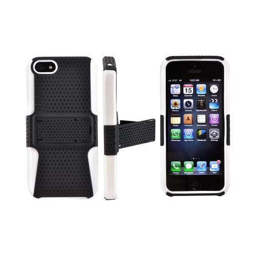 Apple iPhone SE / 5 / 5S  Case,  [Black Mesh on White]  Rubberized Hard Case Over Silicone w/ Stand