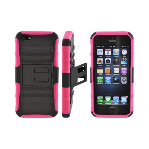 Apple iPhone SE / 5 / 5S  Case,  [Pink/ Black]  Rubberized Hard Case Over Silicone Case w/ Built-In Kickstand