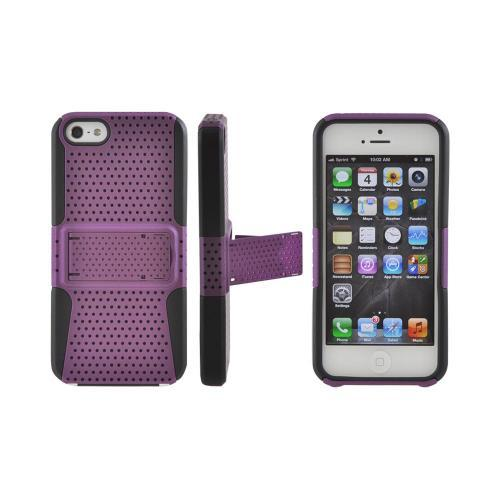 Made for Apple iPhone SE / 5 / 5S  Case,  [Purple Mesh on Black]  Rubberized Hard Case Over Silicone Case w/ Built-In Kickstand by Redshield