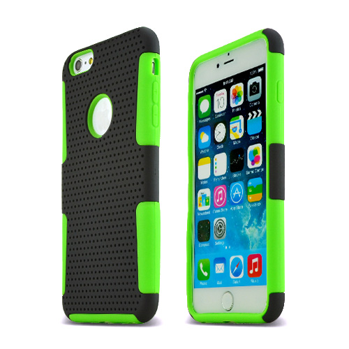 Apple iPhone 6 PLUS/6S PLUS (5.5 inch) Heavy Case,  [Black/ Lime Green] Rubberized Mesh [Logo-Cut-Out] Supreme Protection Silicone Dual Layer Hybrid Case