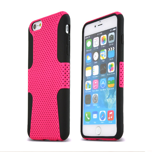 Made for Apple iPhone 6 PLUS/6S PLUS (5.5 inch) Heavy Case,  [Hot Pink/ Black] Rubberized Mesh Supreme Protection Silicone Dual Layer Hybrid Case by Redshield