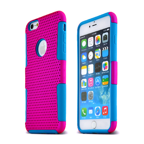 Apple iPhone 6 PLUS/6S PLUS (5.5 inch) Heavy Case,  [Hot Pink/ Teal] Rubberized Mesh [Logo-Cut-Out] Supreme Protection Silicone Dual Layer Hybrid Case