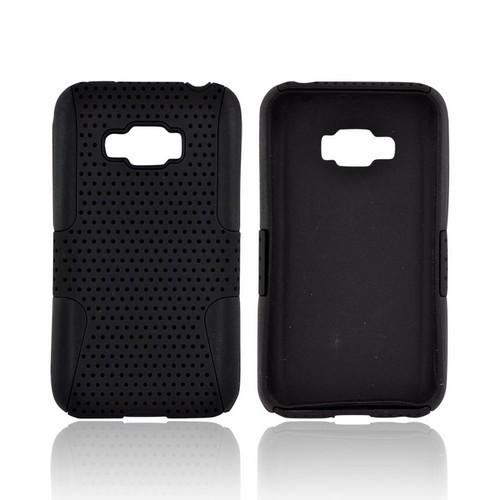 LG Optimus Elite Rubberized Hard Case Over Silicone - Black Mesh on Black
