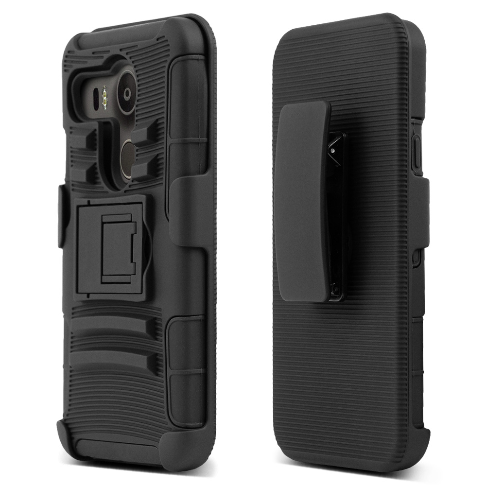 LG Google Nexus 5X Case, [Black]  Rubberized Matte Plastic on Silicone Dual Layer Hybrid Case