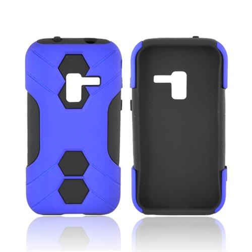 Samsung Conquer 4G Rubberized Hard on Silicone Case - Blue/ Black