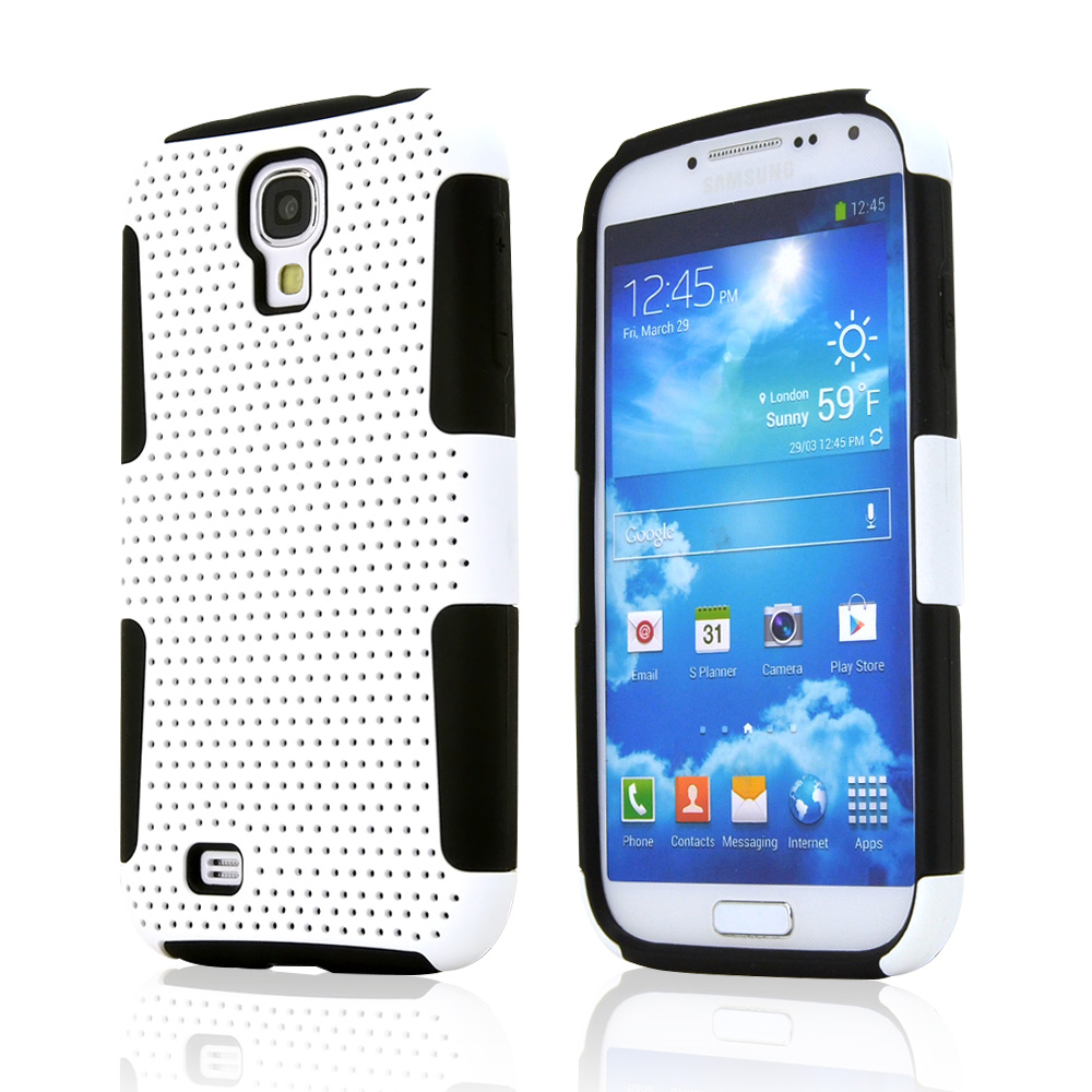 White Mesh on White Silicone Hybrid Case for Samsung Galaxy S4