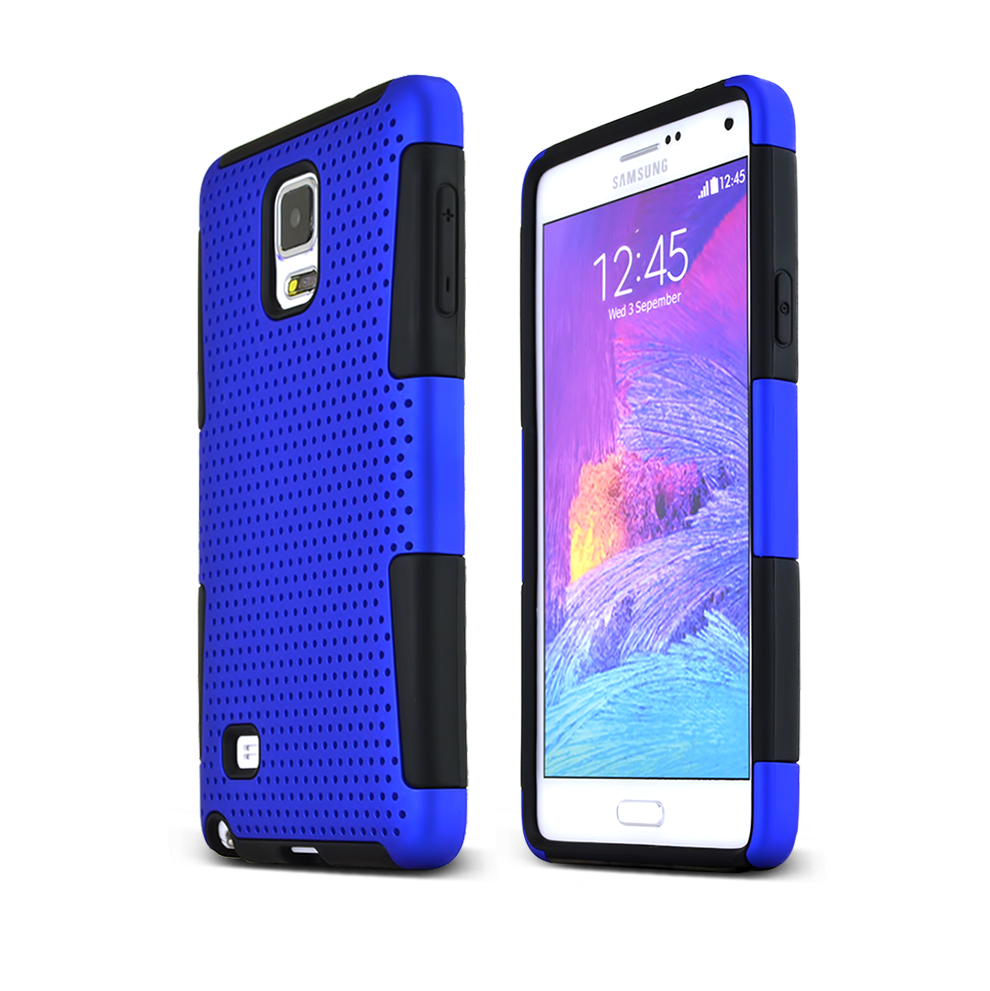 Samsung Galaxy Note 4 Case, [Blue] Rubberized Mesh Slim & Protective Rubberized Matte Finish Snap-on Hard Polycarbonate Plastic Case Cover