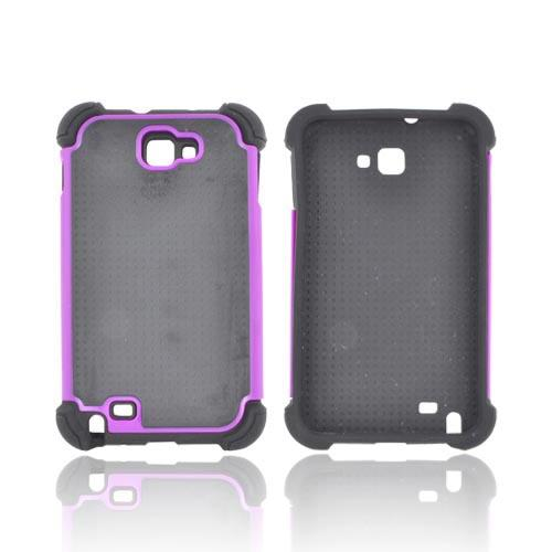Samsung Galaxy Note Perforated Hybrid Hard Cover Over Silicone Case - Purple/ Black