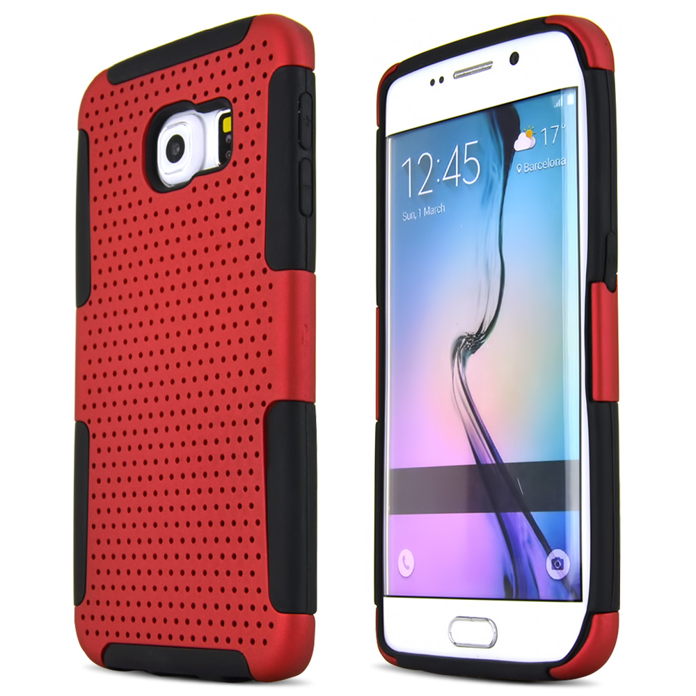 Samsung Galaxy S6 Edge Case,  [Red]  Supreme Protection Rubberized Plastic on Silicone Dual Layer Hybrid Case