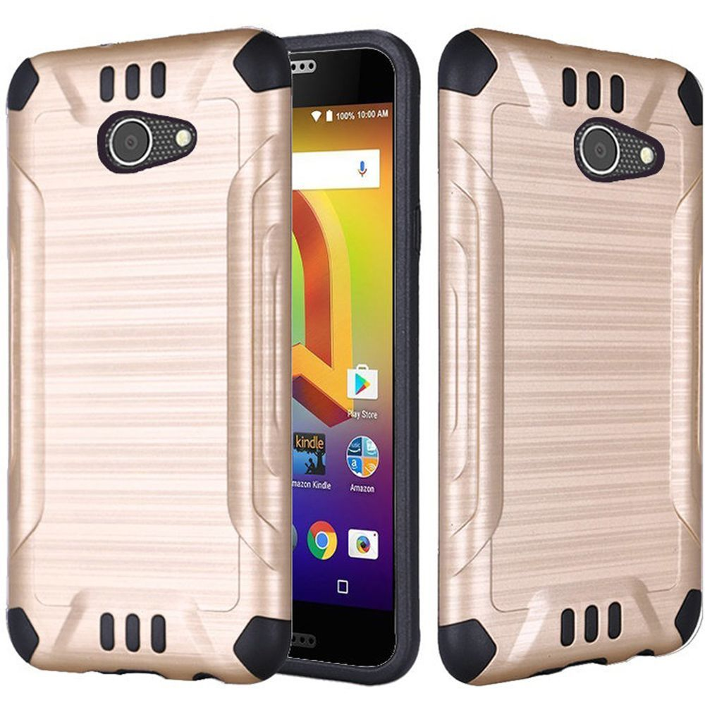 Alcatel A30 Shockproof Case, Slim Armor Brushed Metal Design Hybrid Hard Case on TPU [Gold] with Travel Wallet Phone Stand
