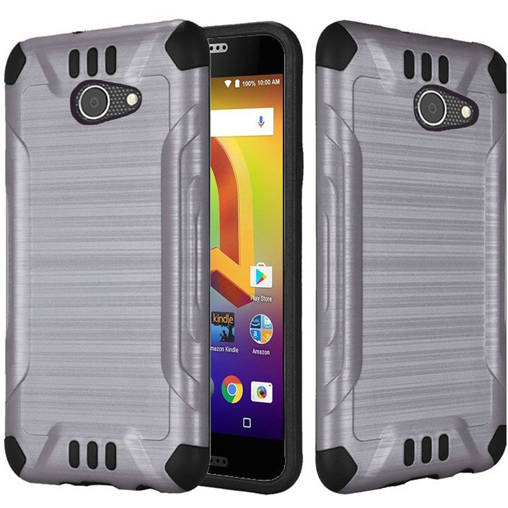 Alcatel A30 Shockproof Case, Slim Armor Brushed Metal Design Hybrid Hard Case on TPU [Gray] with Travel Wallet Phone Stand