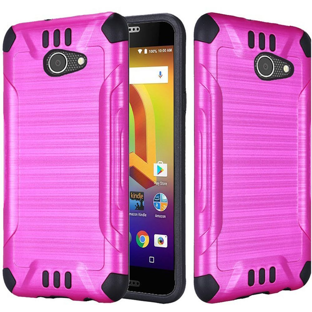 Alcatel A30 Shockproof Case, Slim Armor Brushed Metal Design Hybrid Hard Case on TPU [Hot Pink] with Travel Wallet Phone Stand