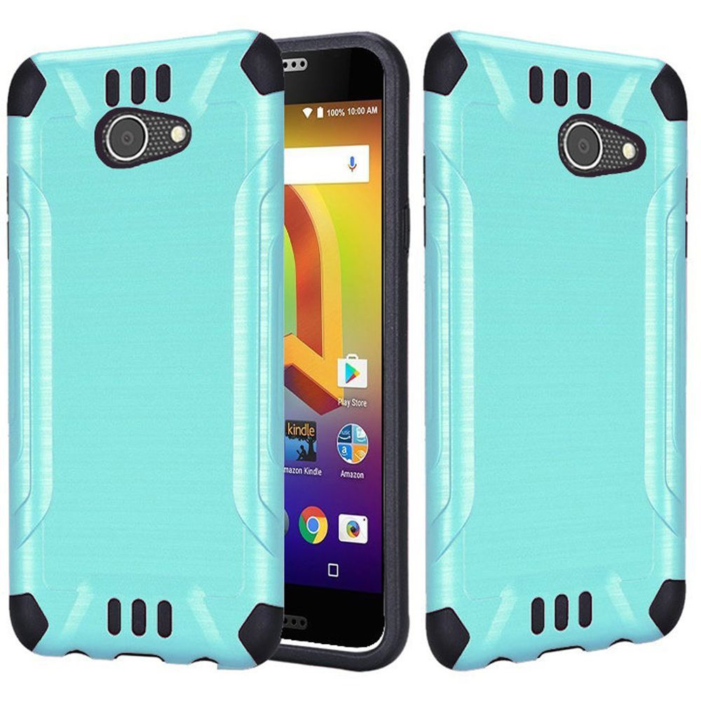 Alcatel A30 Shockproof Case, Slim Armor Brushed Metal Design Hybrid Hard Case on TPU [Mint] with Travel Wallet Phone Stand