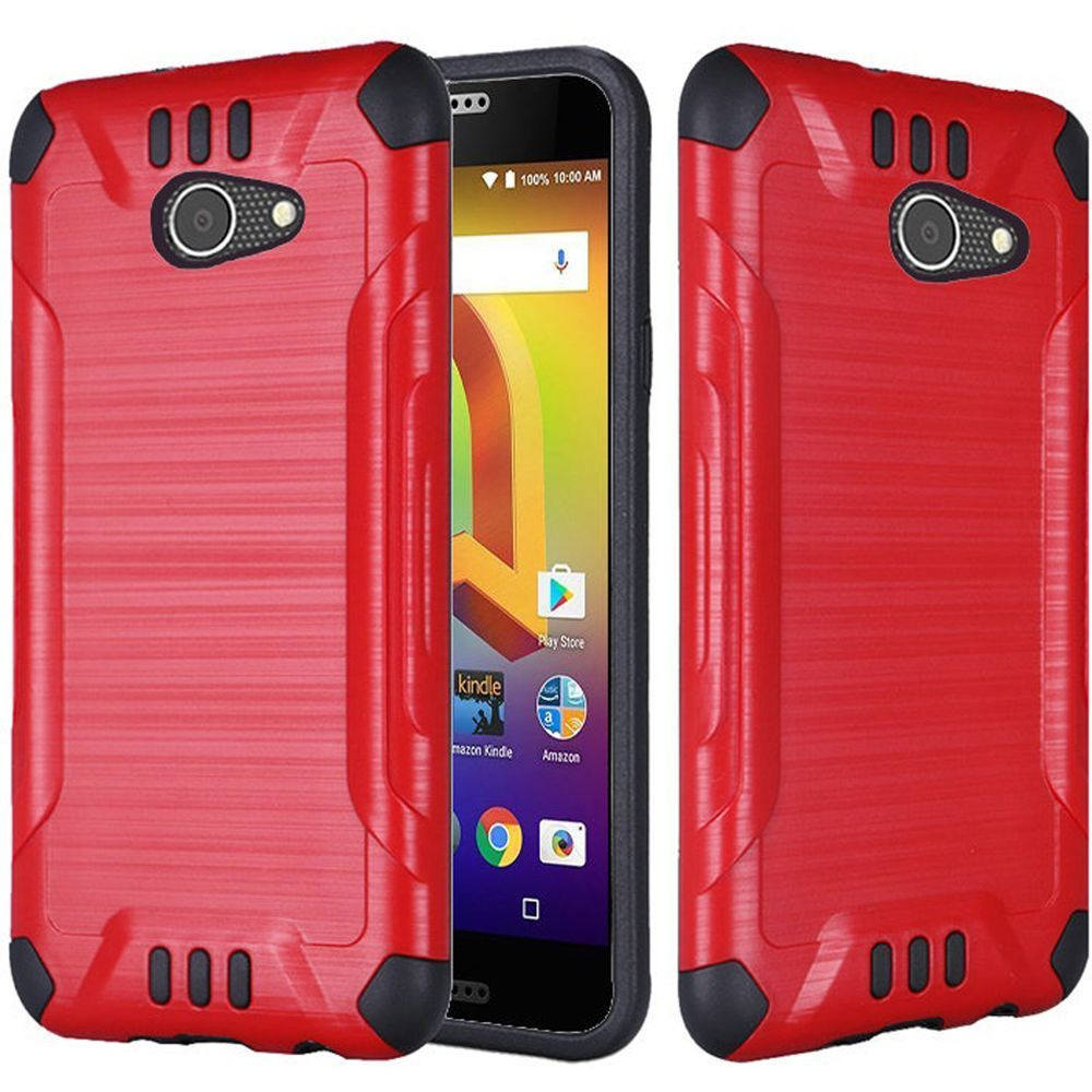 Alcatel A30 Shockproof Case, Slim Armor Brushed Metal Design Hybrid Hard Case on TPU [Red] with Travel Wallet Phone Stand