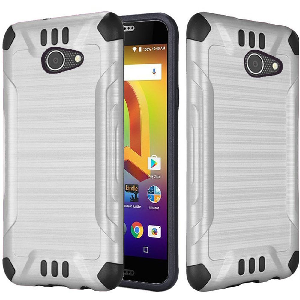 Alcatel A30 Shockproof Case, Slim Armor Brushed Metal Design Hybrid Hard Case on TPU [Silver] with Travel Wallet Phone Stand