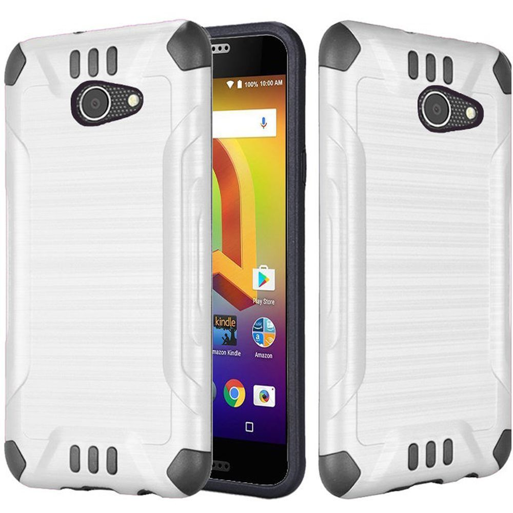 Alcatel A30 Shockproof Case, Slim Armor Brushed Metal Design Hybrid Hard Case on TPU [White] with Travel Wallet Phone Stand