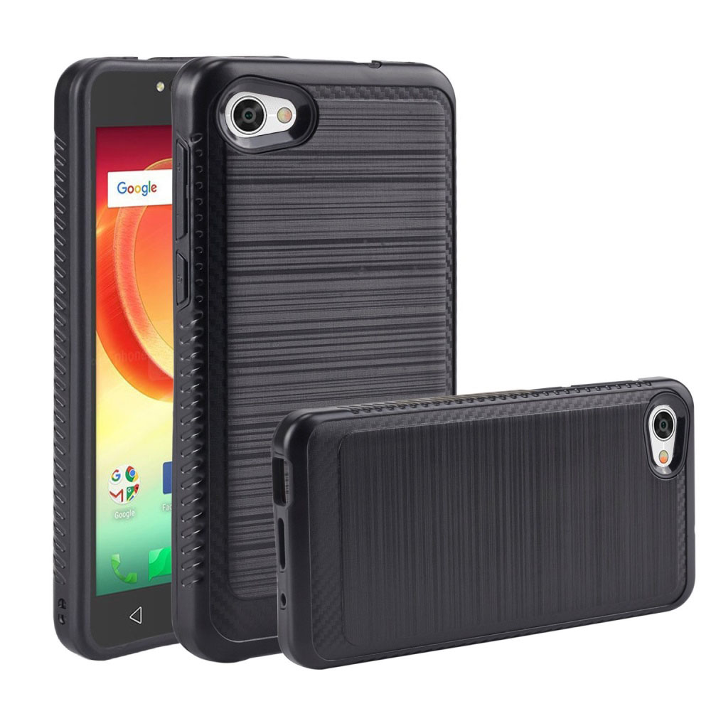 Alcatel Crave/ PulseMix/ A50 Hybrid Case, [Black] Slim Armor Brushed Metal Design Hard Case on TPU