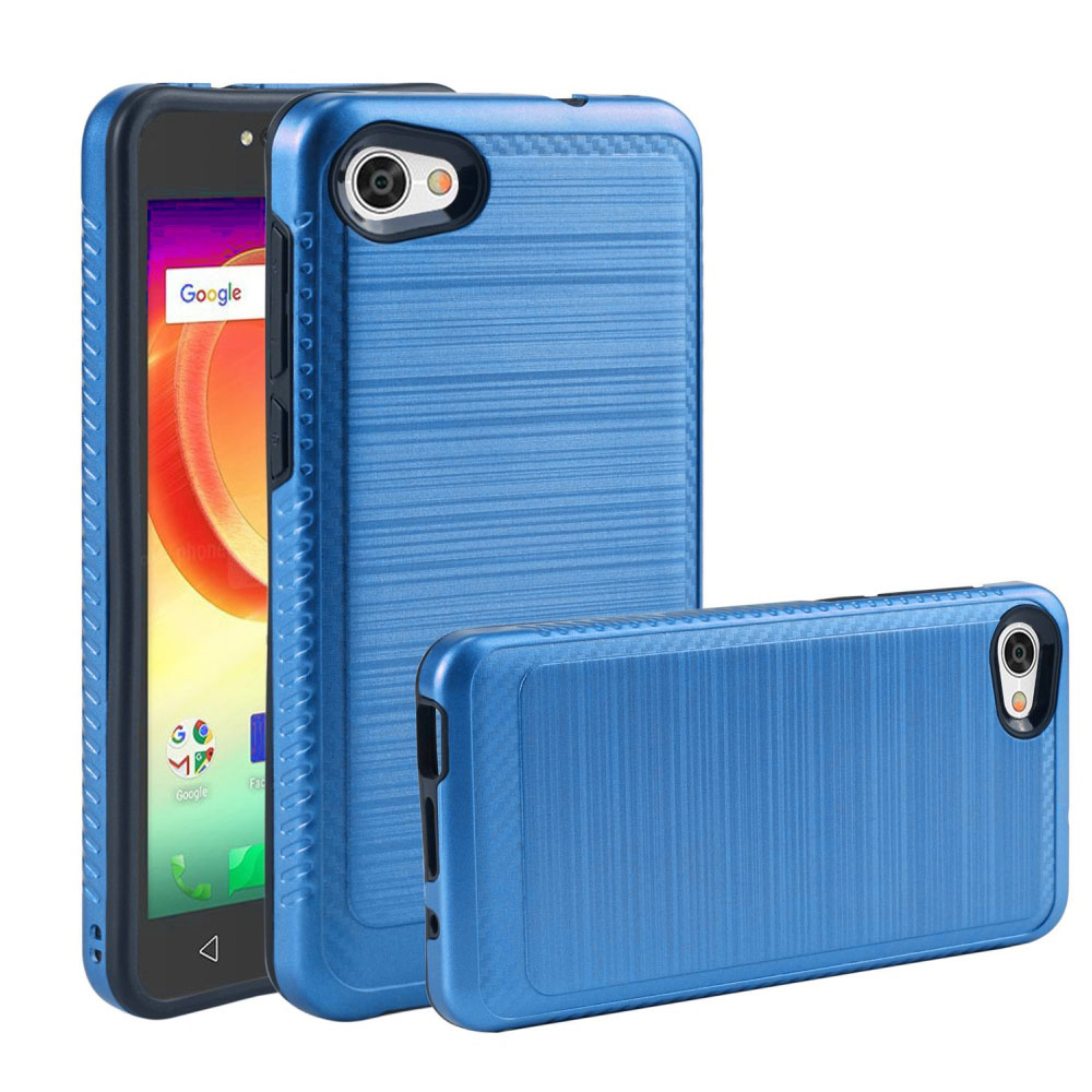 Alcatel Crave/ PulseMix/ A50 Hybrid Case, [Blue/ Black] Slim Armor Brushed Metal Design Hard Case on TPU