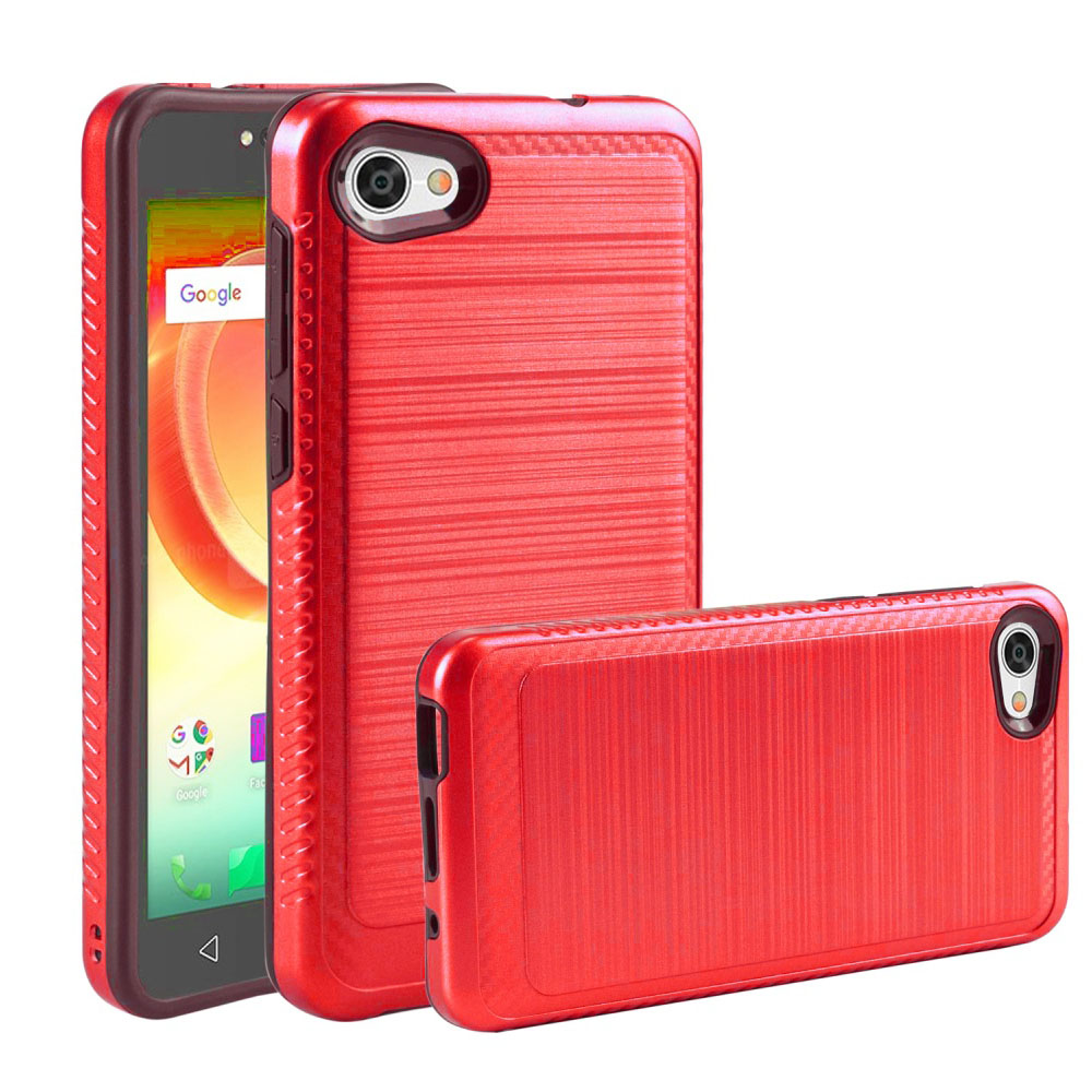 Alcatel Crave/ PulseMix/ A50 Hybrid Case, [Red/ Black] Slim Armor Brushed Metal Design Hard Case on TPU