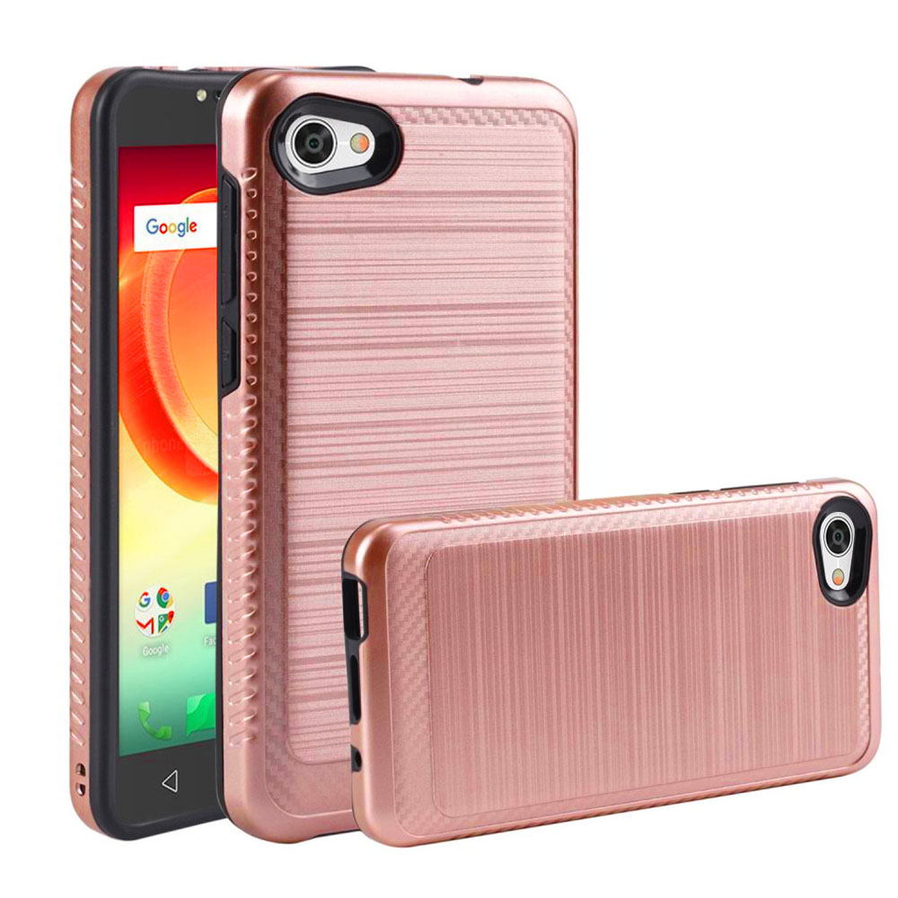 Alcatel Crave/ PulseMix/ A50 Hybrid Case, [Rose Gold/ Black] Slim Armor Brushed Metal Design Hard Case on TPU