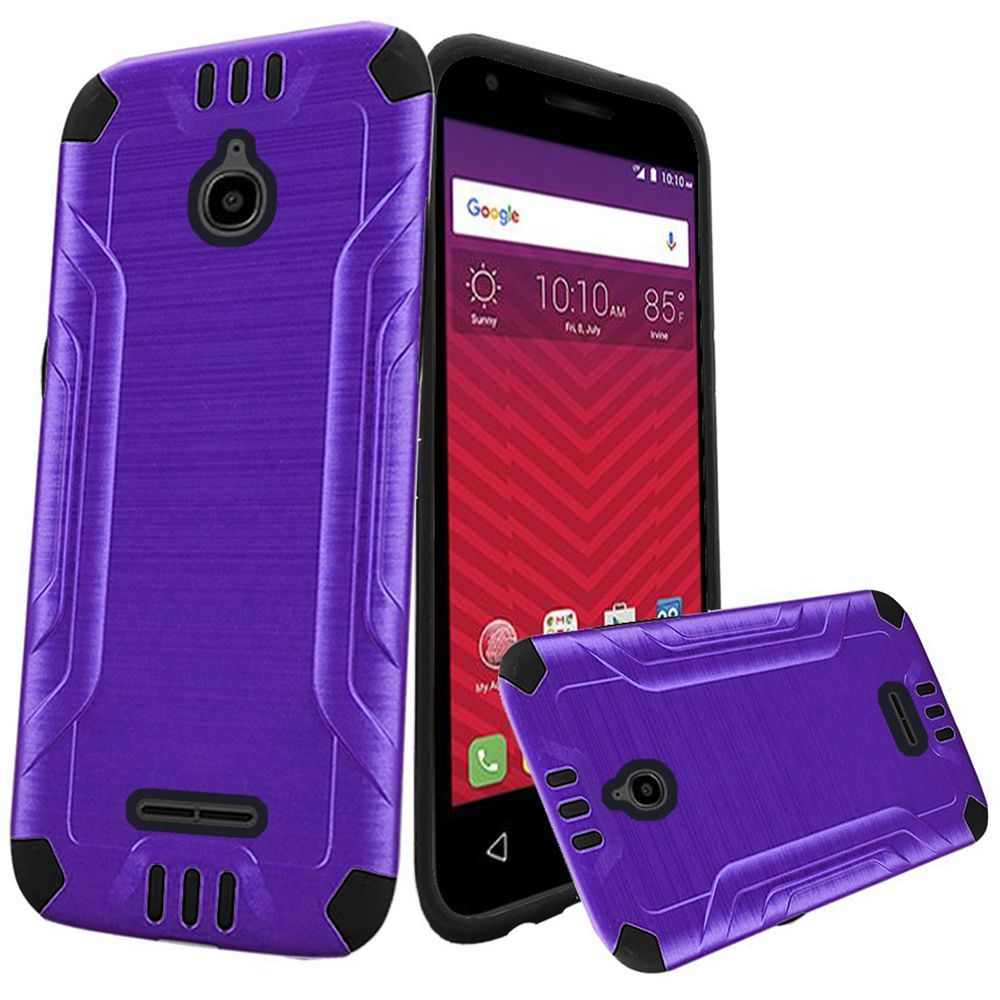 Alcatel Dawn / Acquire / Streak Case, Slim Armor Brushed Metal Design Hybrid Hard Case on TPU [Purple/ Black] with Travel Wallet Phone Stand