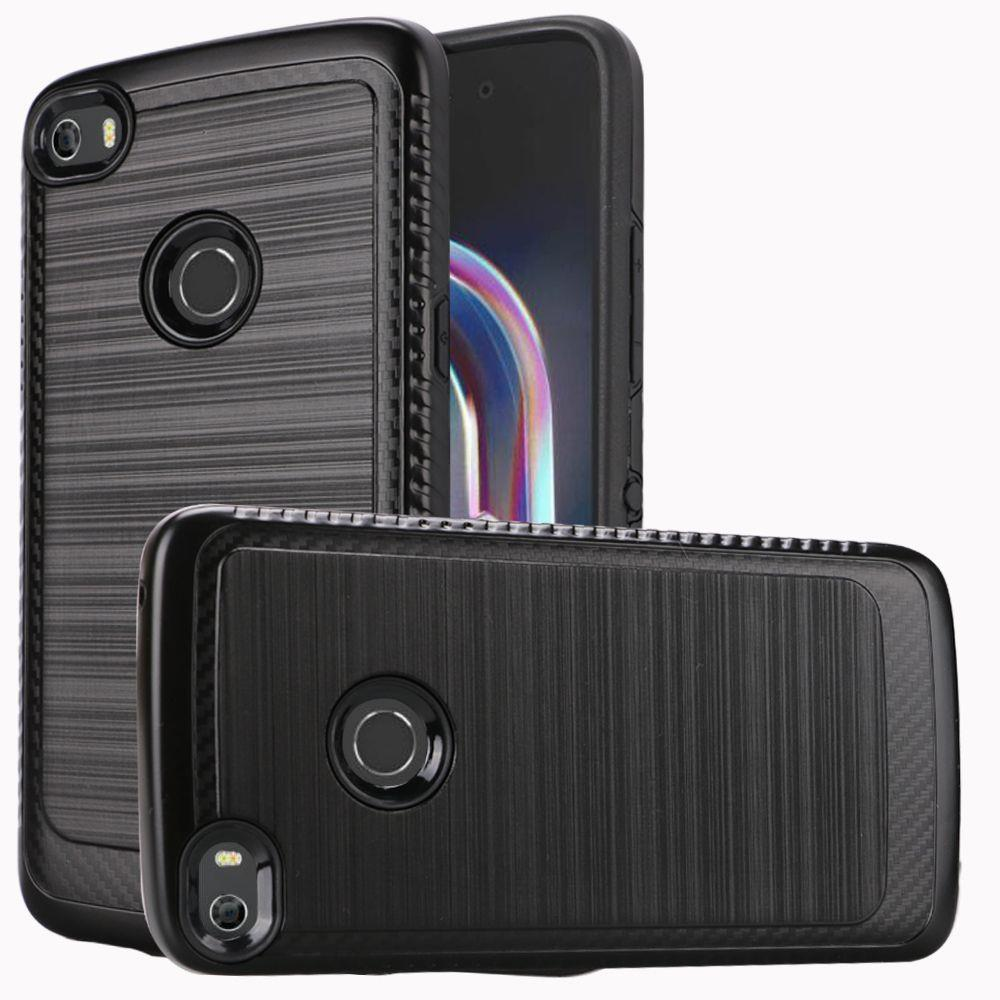 Alcatel Idol 5 Hybrid Case, [Black] Slim Armor Brushed Metal Design Hard Case on TPU