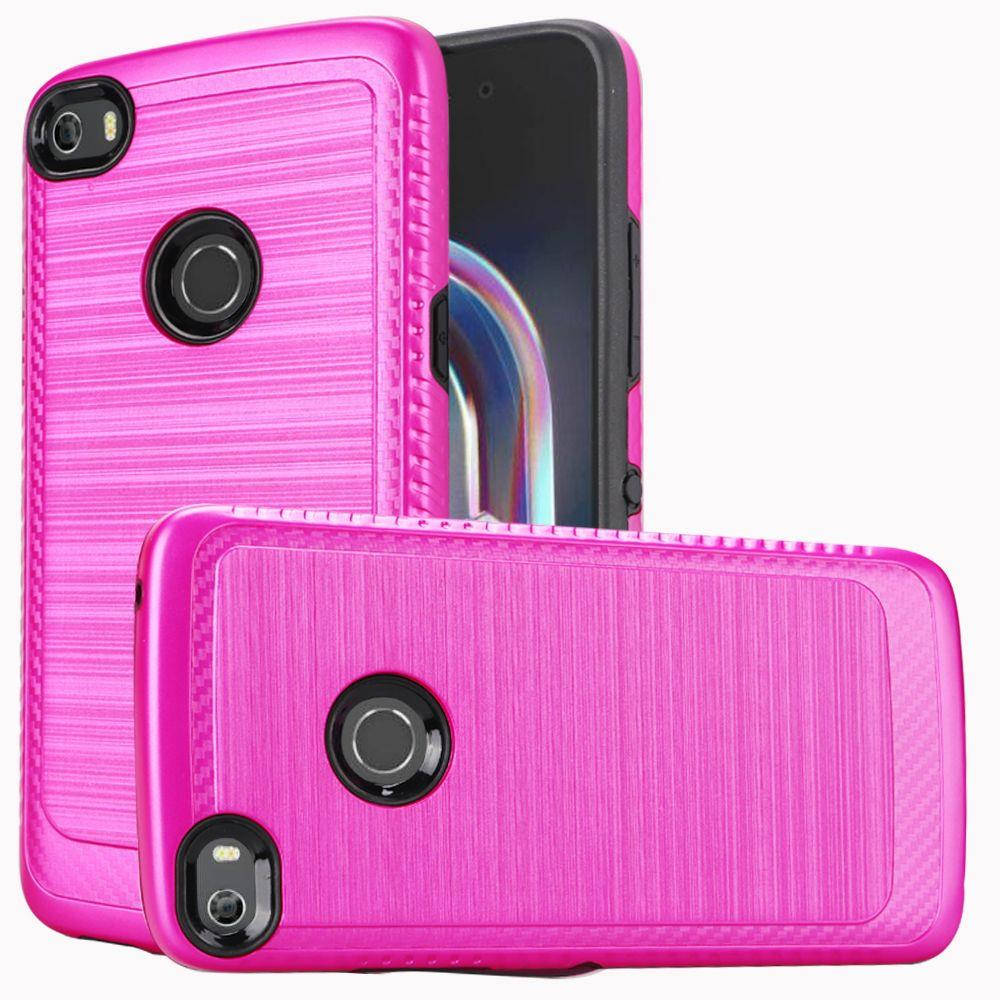 Alcatel Idol 5 Hybrid Case, [Hot Pink/ Black] Slim Armor Brushed Metal Design Hard Case on TPU