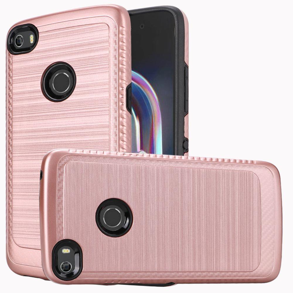 Alcatel Idol 5 Hybrid Case, [Rose Gold/ Black] Slim Armor Brushed Metal Design Hard Case on TPU