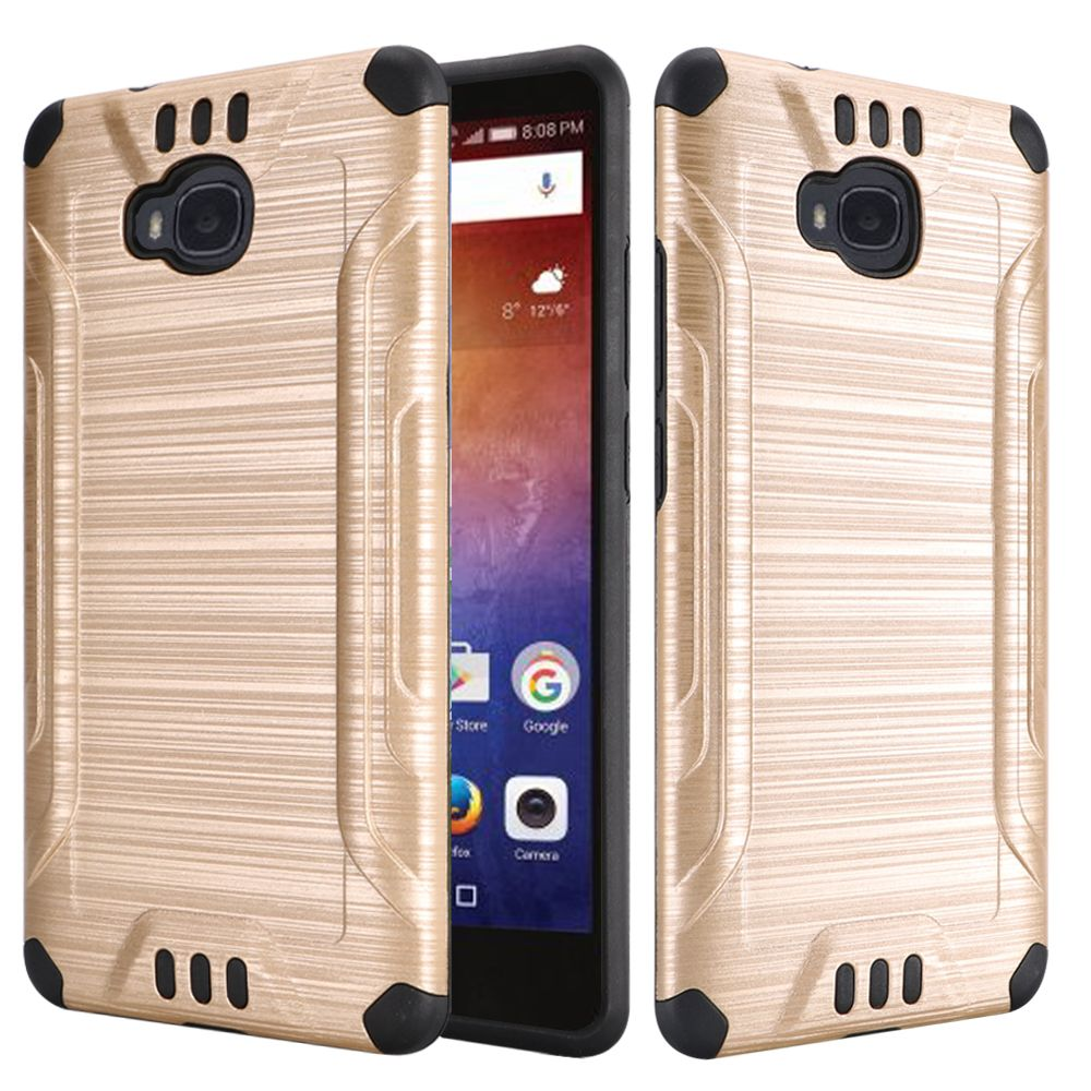 Huawei Ascend XT Case, Slim Armor Brushed Metal Design Hybrid Hard Case on TPU [Gold/ Black] with Travel Wallet Phone Stand