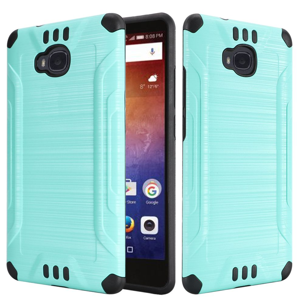Huawei Ascend XT Case, Slim Armor Brushed Metal Design Hybrid Hard Case on TPU [Mint/ Black] with Travel Wallet Phone Stand