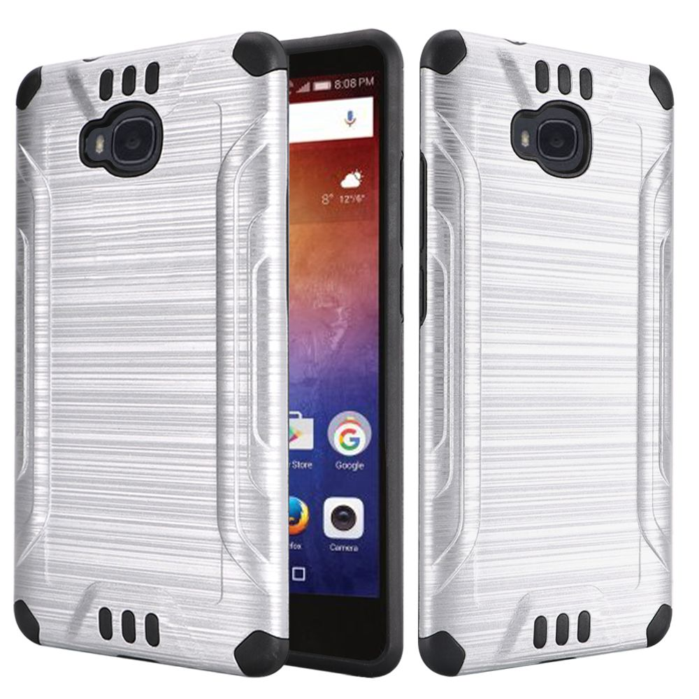 Huawei Ascend XT Case, Slim Armor Brushed Metal Design Hybrid Hard Case on TPU [Silver/ Black] with Travel Wallet Phone Stand