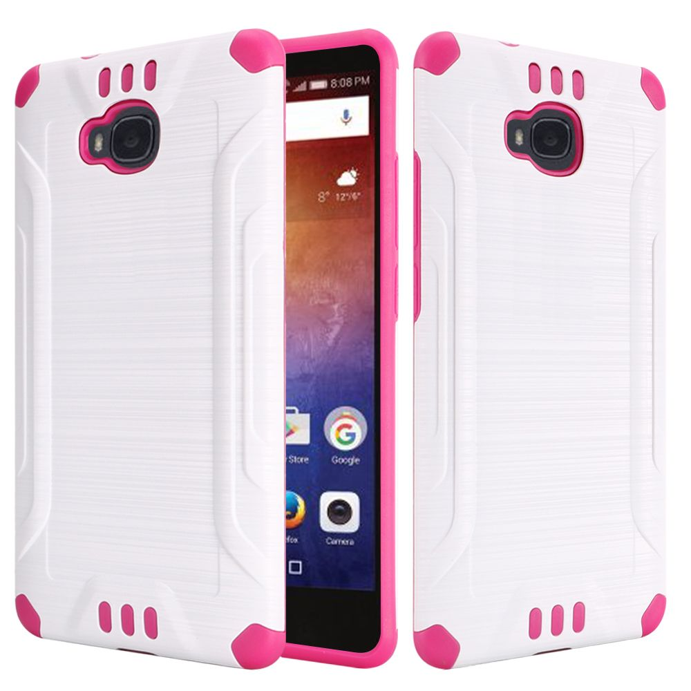 Huawei Ascend XT Case, Slim Armor Brushed Metal Design Hybrid Hard Case on TPU [White/ Hot Pink] with Travel Wallet Phone Stand