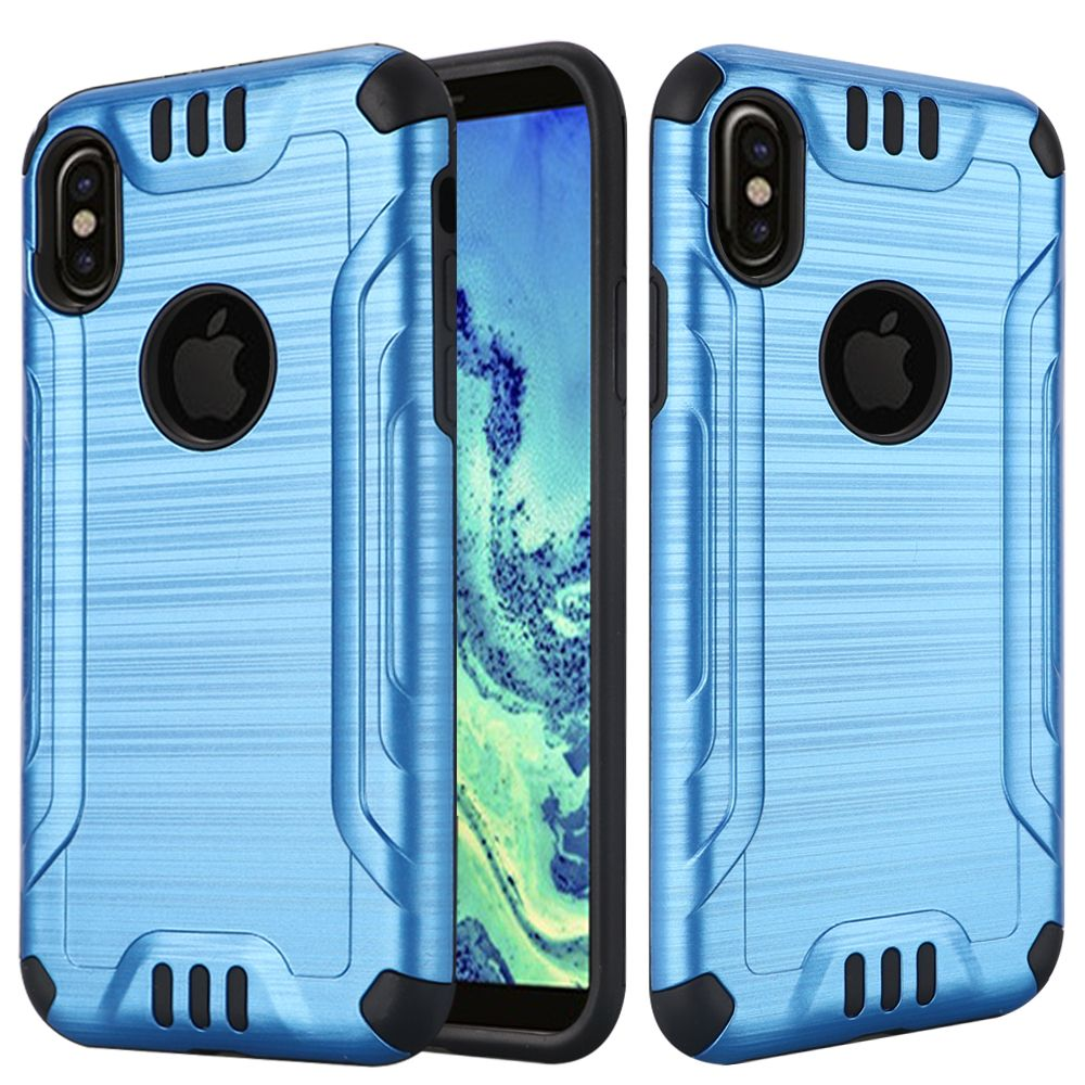Apple iPhone X Hybrid Case, [Blue/ Black] Slim Armor Brushed Metal Design Hybrid Hard Case on TPU Case