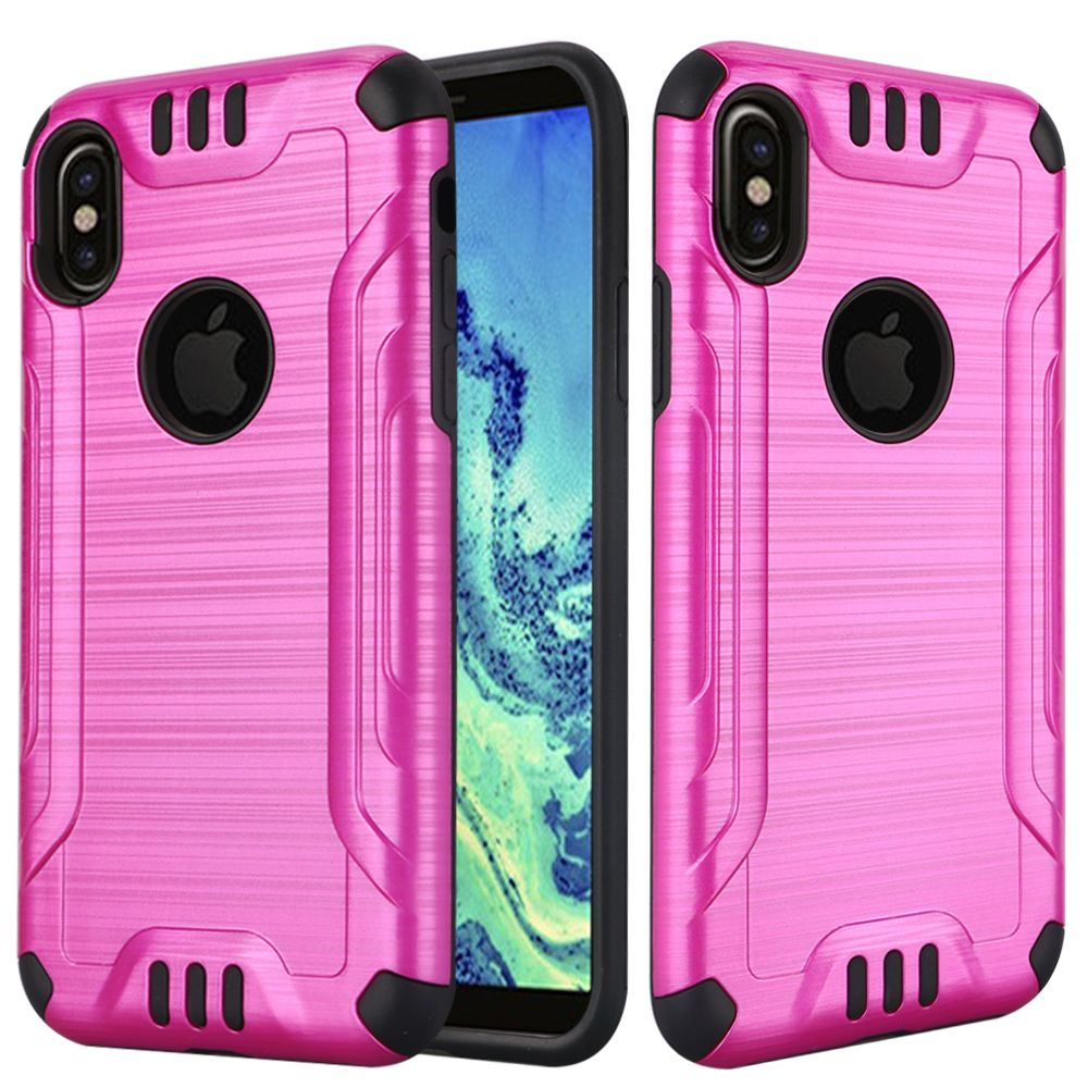 Apple iPhone X Hybrid Case, [Hot Pink/ Black] Slim Armor Brushed Metal Design Hybrid Hard Case on TPU Case