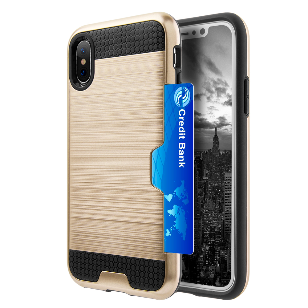 [REDshield] Apple iPhone X Card Case, [Gold & Black] Metallic Case Slim Brushed Metal Hybrid Hard Case on TPU w/ Card Slot