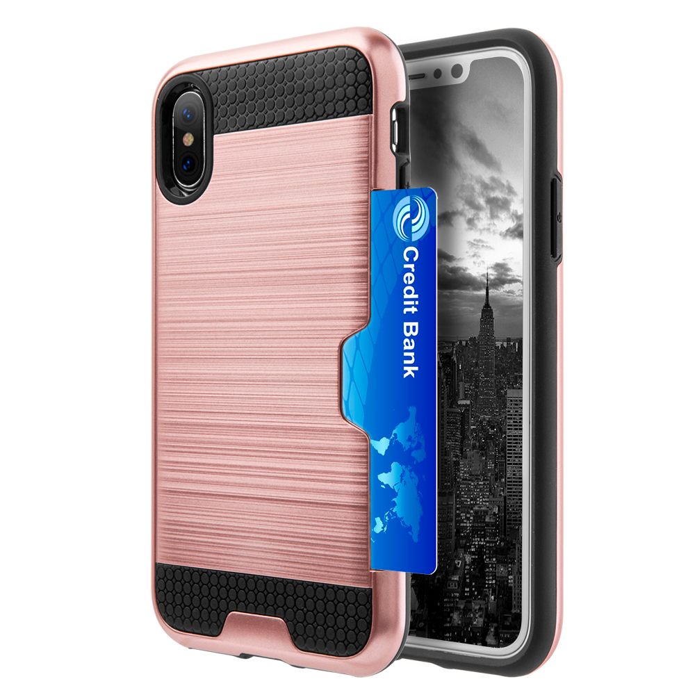 [REDshield] Apple iPhone X Card Case, [Rose Gold & Black] Metallic Case Slim Brushed Metal Hybrid Hard Case on TPU w/ Card Slot