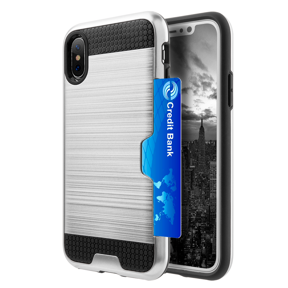 [REDshield] Apple iPhone X Card Case, [Silver & Black] Metallic Case Slim Brushed Metal Hybrid Hard Case on TPU w/ Card Slot