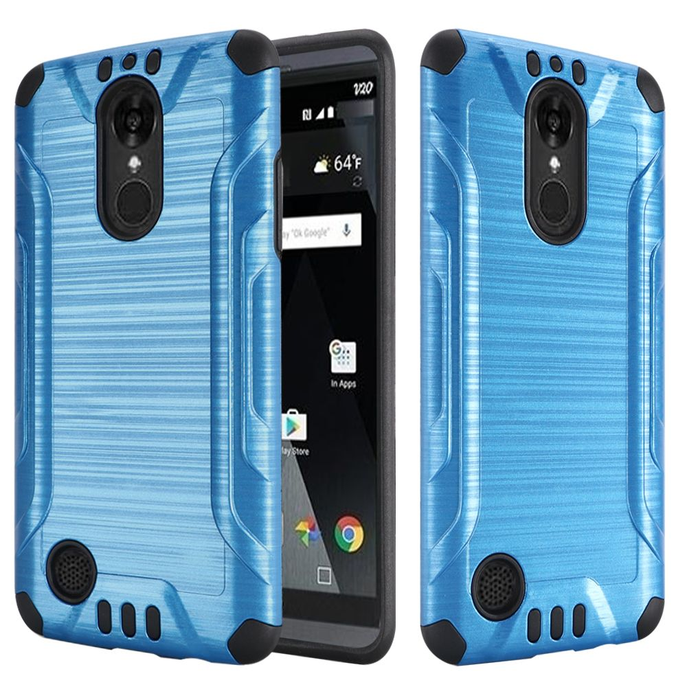 LG Aristo/ Fortune Case, Slim Armor Brushed Metal Design Hybrid Hard Case on TPU [Dark Blue/ Black]