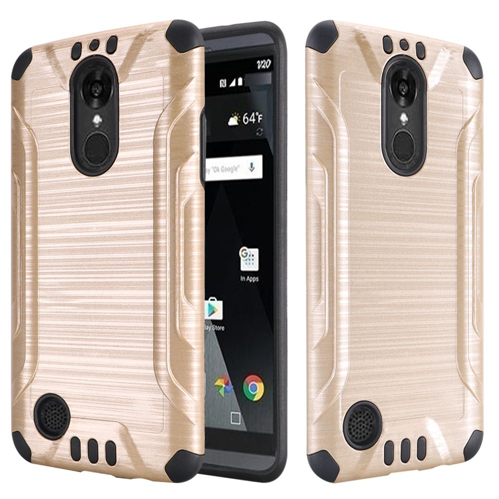 LG Aristo/ Fortune Case, Slim Armor Brushed Metal Design Hybrid Hard Case on TPU [Gold/ Black]