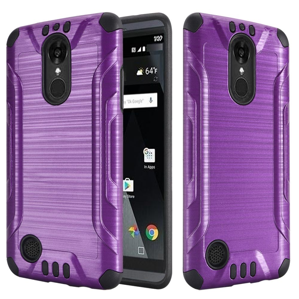 LG Aristo/ Fortune Case, Slim Armor Brushed Metal Design Hybrid Hard Case on TPU [Purple/ Black]