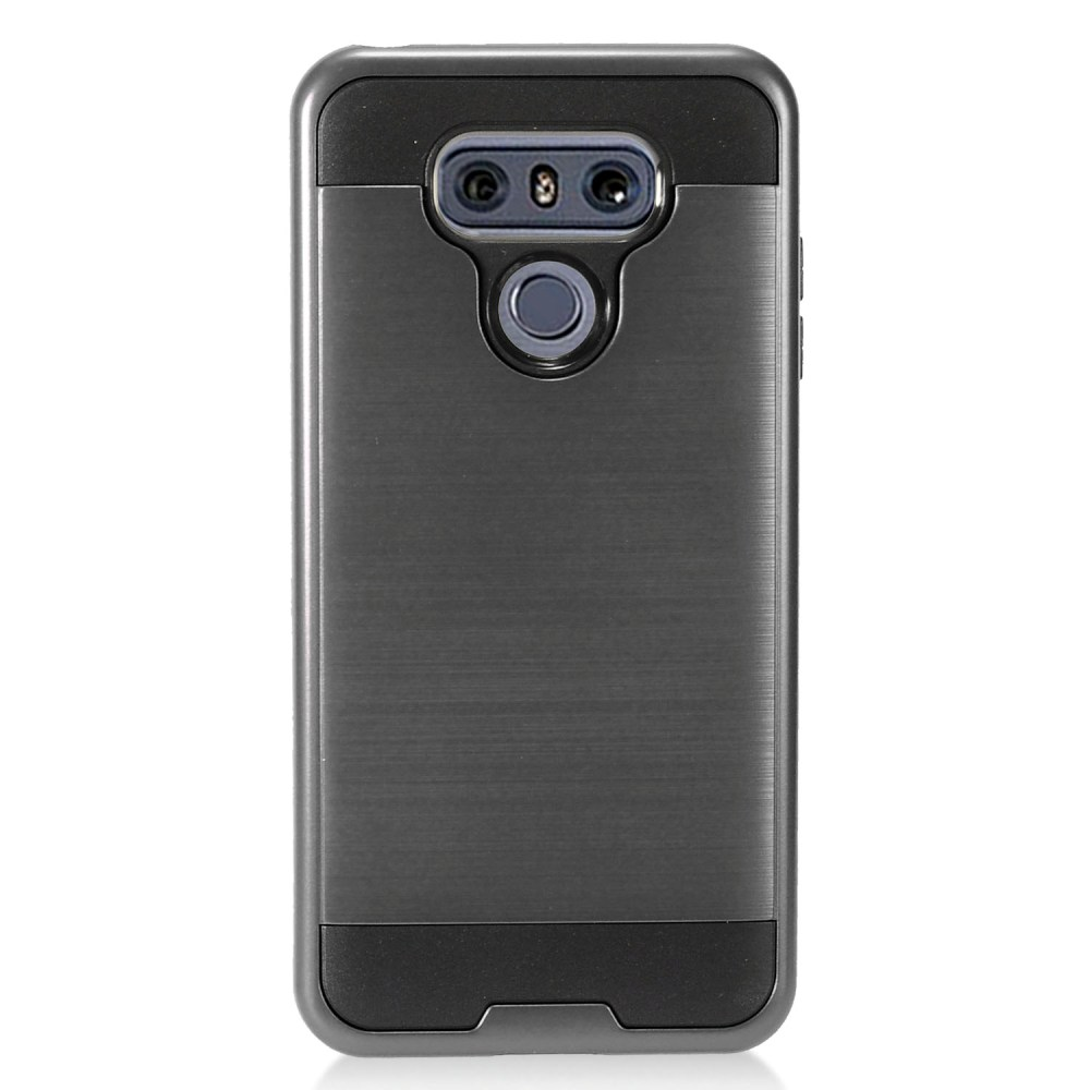 LG G6 Metallic Case, Super Slim Brushed Metallic Hybrid Hard Cover on TPU [Black] with Travel Wallet Phone Stand