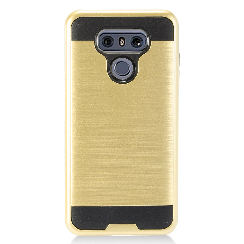 LG G6 Metallic Case, Super Slim Brushed Metallic Hybrid Hard Cover on TPU [Gold] with Travel Wallet Phone Stand
