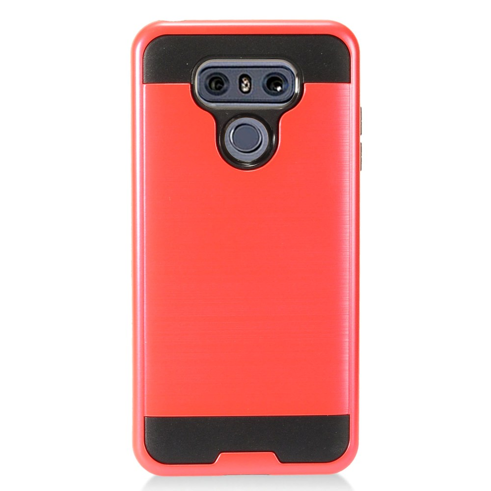 LG G6 Metallic Case, Super Slim Brushed Metallic Hybrid Hard Cover on TPU [Red] with Travel Wallet Phone Stand