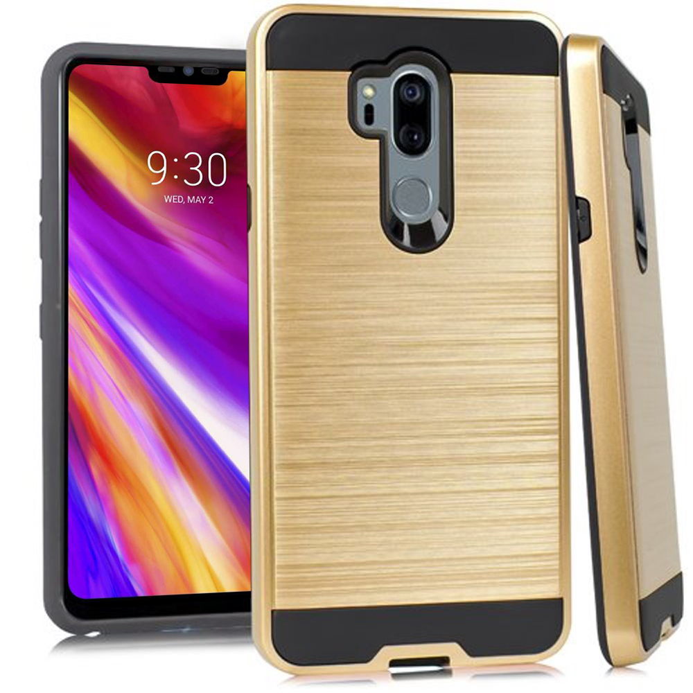 LG G7 Metallic Case  Slim Armor Brushed Metal Design Hybrid Hard Case on TPU [Black/Gold}